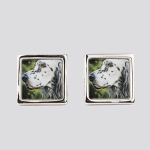 English Setter by Dawn Secord Square Cufflinks