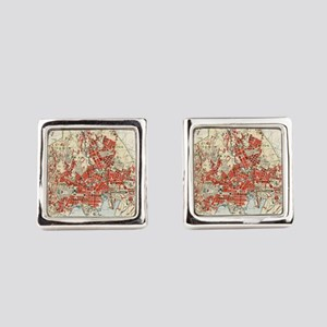 Vintage Map of Oslo Norway (1911) Square Cufflinks