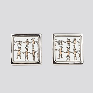 dancing bunnies in a circle Square Cufflinks