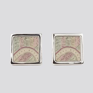 Vintage Map of New Orleans (1880) Square Cufflinks