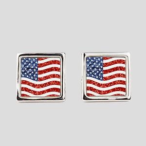 sequin american flag Square Cufflinks