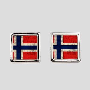 Flag of Norway Vintage Grunge Square Cufflinks