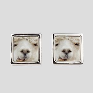 Funny Alpaca Smile Square Cufflinks