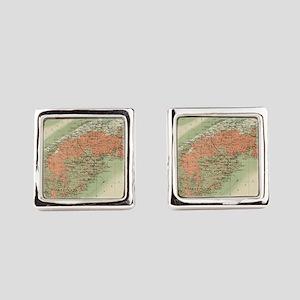 Vintage Geological Map of Nova Sc Square Cufflinks