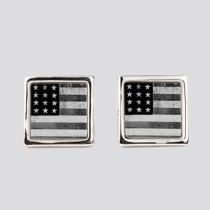 American Vintage Flag Black and W Square Cufflinks