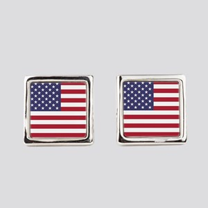 USA flag authentic version Square Cufflinks
