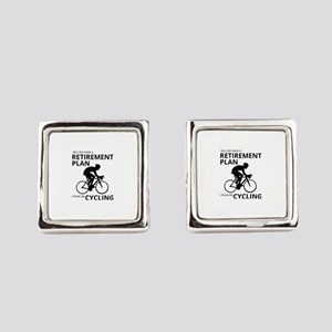 Cyclist Retirement Plan Square Cufflinks