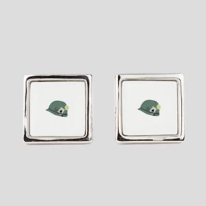 Vietnam Helmet Square Cufflinks