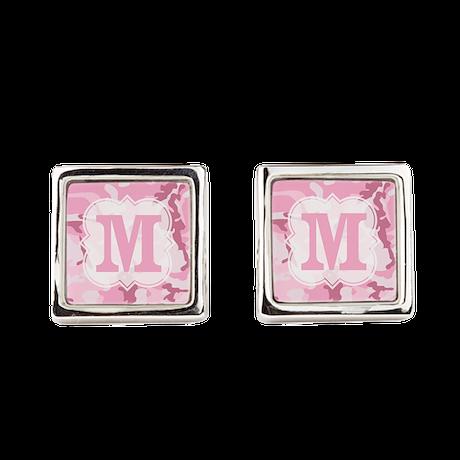 Monogram Pink Camouflage Square Cufflinks