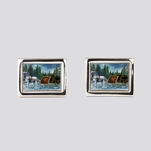 Christmas Sleigh Rectangular Cufflinks