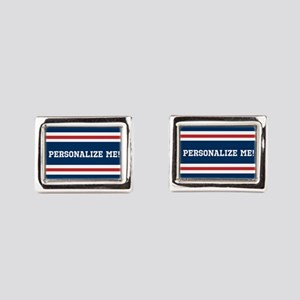 Red and White on Blue Sports Rectangular Cufflinks