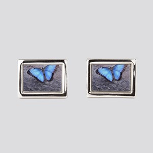 Blue Butterfly Rectangular Cufflinks