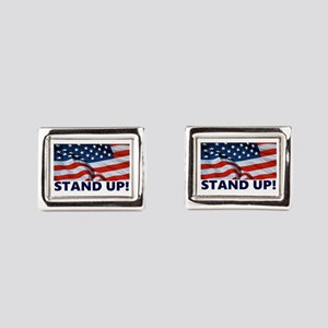 Pro-Football Stand Up! Rectangular Cufflinks