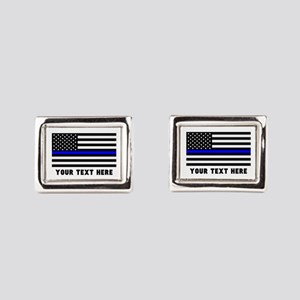 Thin Blue Line Flag Rectangular Cufflinks