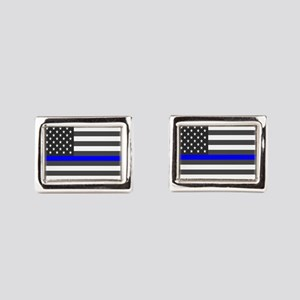 US Flag Blue Line Rectangular Cufflinks