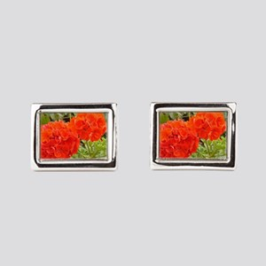 Orange Geranium  Rectangular Cufflinks