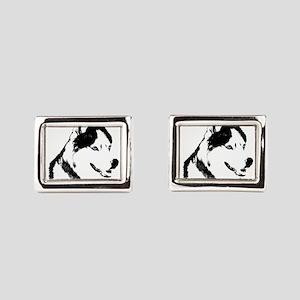 Husky Malamute Sled Dog Rectangular Cufflinks