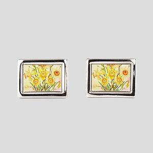 Watercolor Daffodils Yellow  Rectangular Cufflinks