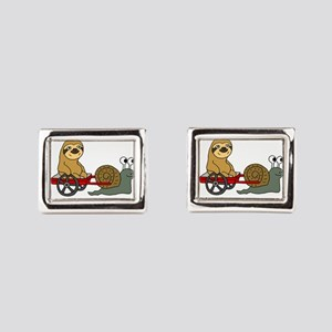 Snail Pulling Wagon with Slo Rectangular Cufflinks