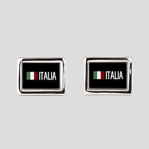 Italy: Italia & Italian Flag Rectangular Cufflinks