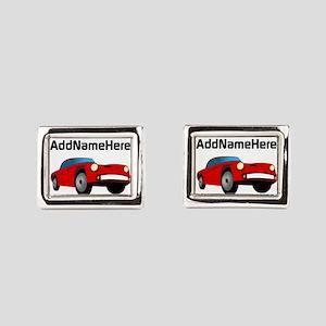 Sports Car, Custom Name Rectangular Cufflinks