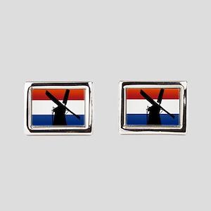 Dutch Windmill Flag Rectangular Cufflinks