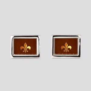 Old Leather with gold Fleur- Rectangular Cufflinks