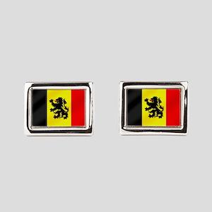 Belgian Lion Flag Rectangular Cufflinks