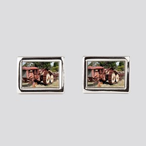 Old rusty tractor in the cou Rectangular Cufflinks