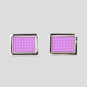 Pink Gingham Pattern Cufflinks