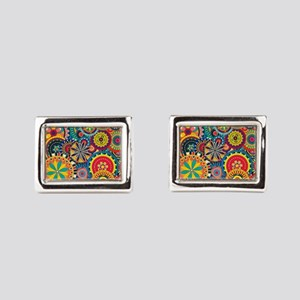 Colorful Floral Pattern Cufflinks