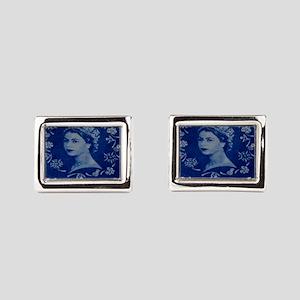 Queen Elizabeth stamp blue i Rectangular Cufflinks