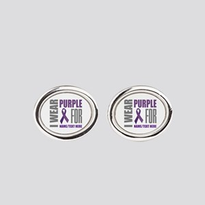 Purple Awareness Ribbon Customized Oval Cufflinks