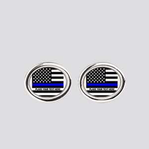 Thin Blue Line Oval Cufflinks