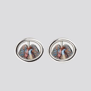 Human Anatomy Heart and Lungs Oval Cufflinks