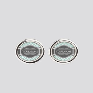 Mint and Gray Moroccan Quatrefoil M Oval Cufflinks