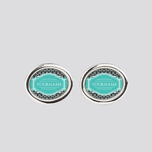 Personalized Horseshoes Pattern - A Oval Cufflinks