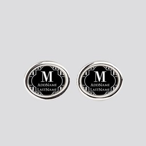 Stripes Pattern with Monogram - Bla Oval Cufflinks