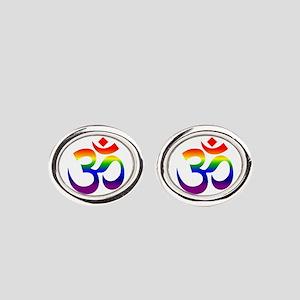 big rainbow om Oval Cufflinks