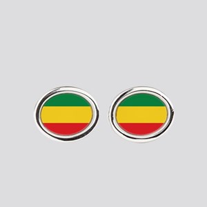 Green, Gold and Red Flag Oval Cufflinks
