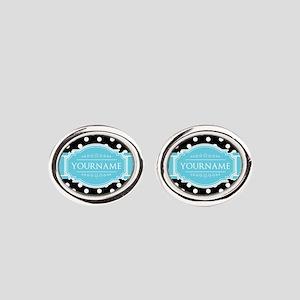 Black and White Dots Aqua Personali Oval Cufflinks