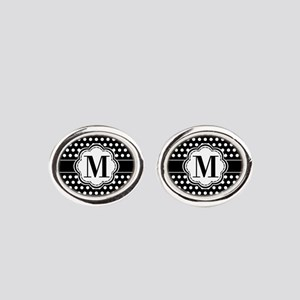 Black and White Chic Polka Dots wit Oval Cufflinks