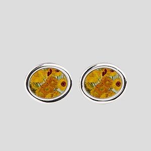 Vincent Van Gogh Sunflower Painting Oval Cufflinks
