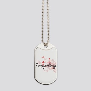 Trampolining Artistic Design with Hearts Dog Tags