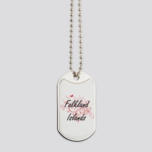 Falkland Islands Artistic Design with But Dog Tags