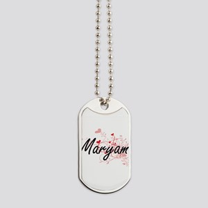 Maryam Artistic Name Design with Hearts Dog Tags