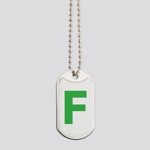 Letter F Green Dog Tags