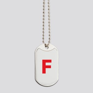 Letter F Red Dog Tags