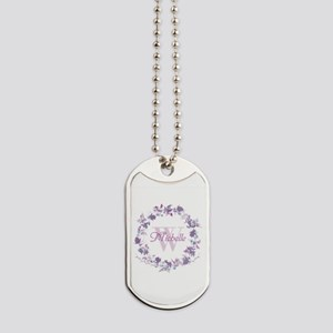Monogram Watercolor Floral Wreath Dog Tags