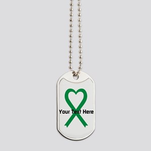 Personalized Green Ribbon Heart Dog Tags